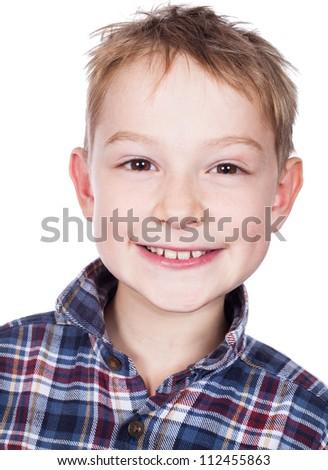 Portrait of happy little boy isolated on white background - stock photo