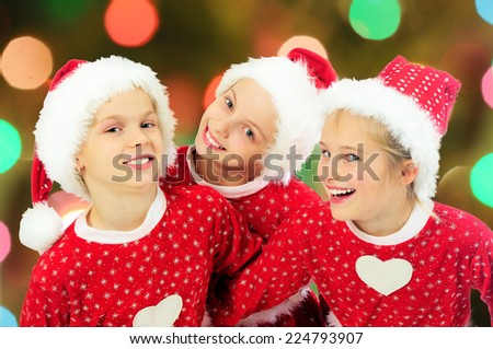 Portrait of happy little christmas girls - stock photo