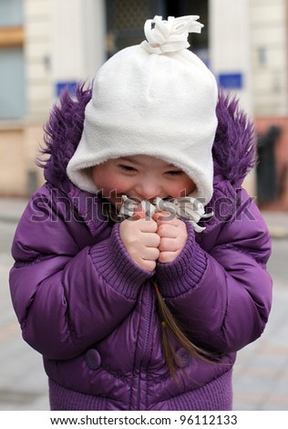 Portrait of happy little girl - stock photo