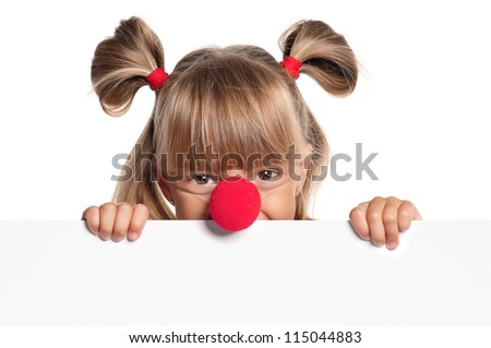 Portrait of happy little girl with red clown nose with white blank - stock photo