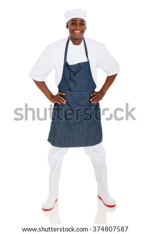 portrait of happy male african american chef isolated on white - stock photo