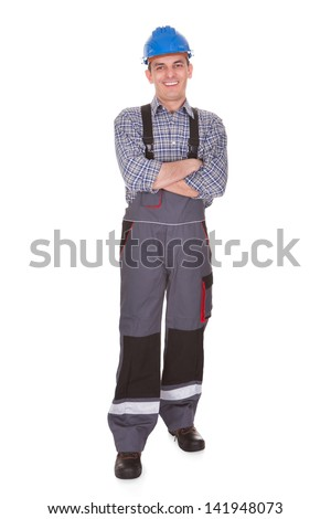 Portrait Of Happy Male Worker Over White Background - stock photo