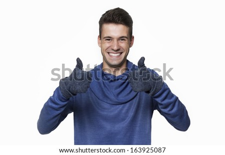 Portrait of happy man giving double thumbs up isolated on white background - stock photo