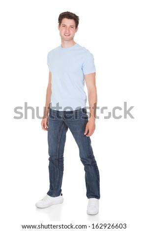 Portrait Of Happy Man On White Background - stock photo