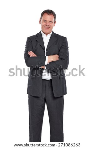Portrait of happy mature businessman looking at camera against white background - stock photo