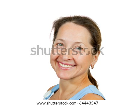 Portrait of happy mature woman. Isolated over white background - stock photo