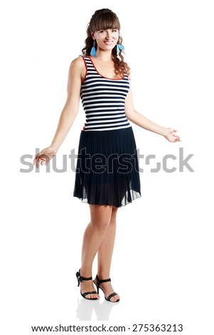 Portrait of happy middle aged woman wearing summer dress - stock photo