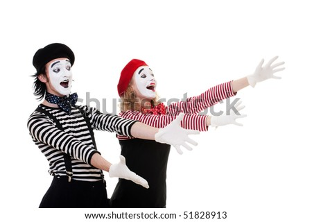 portrait of happy mimes in striped costumes. isolated on white background - stock photo