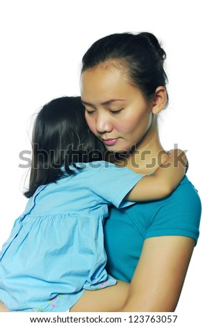 Portrait of happy mother and daughter isolated over white background - stock photo