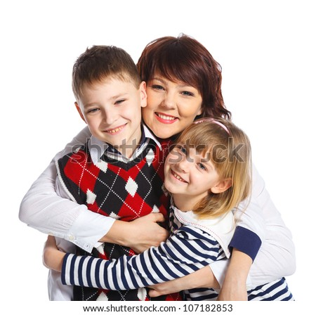 Portrait of happy mother and her child smiling together on white background - stock photo