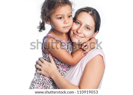 Portrait of happy mother and little girl isolated on white background - stock photo
