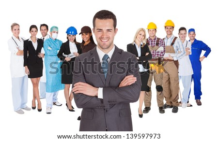 Portrait of happy people of different professions together on white background - stock photo