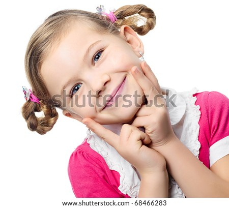 portrait of happy pretty girl on white background - stock photo