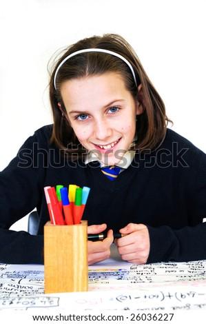 portrait of happy school girl - stock photo