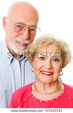 Portrait of happy senior couple isolated on white background.   - stock photo
