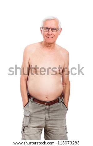Portrait of happy shirtless smiling senior man, isolated on white background. - stock photo