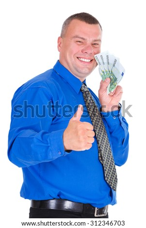 Portrait of happy, smile, successful, lucky business man in shirt and tie holding money euros banknotes in hands and showing big finger up. isolated white background. Positive emotion - stock photo