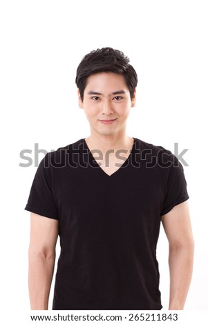 portrait of happy, smiling asian man - stock photo