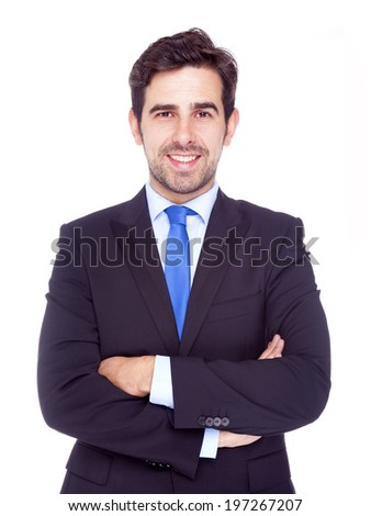 Portrait of happy smiling business man, isolated on a white background - stock photo