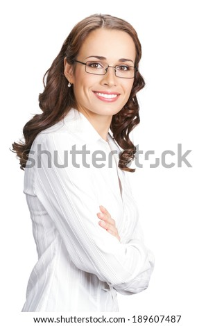 Portrait of happy smiling business woman in glasses, isolated on white background - stock photo
