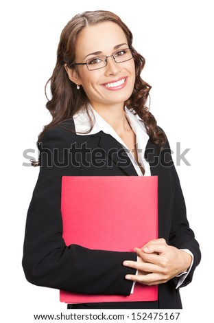 Portrait of happy smiling business woman in glasses with red folder, isolated on white background - stock photo