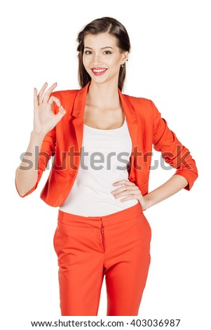 Portrait of happy smiling business woman showing OK hand sign. image on a white studio background. business, emotion, fail and people and concept. - stock photo