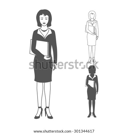 Portrait of happy smiling business woman wearing a suit, smiling, standing and holding folder. Realistic image. Full body woman isolated on white background. - stock photo