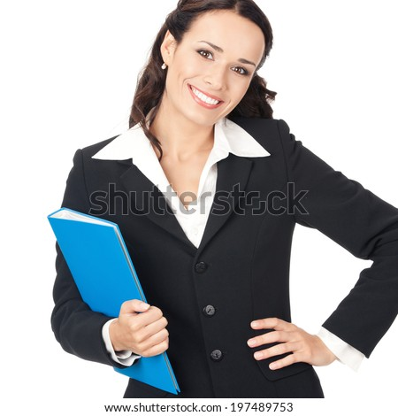 Portrait of happy smiling business woman with blue folder, isolated over white background - stock photo