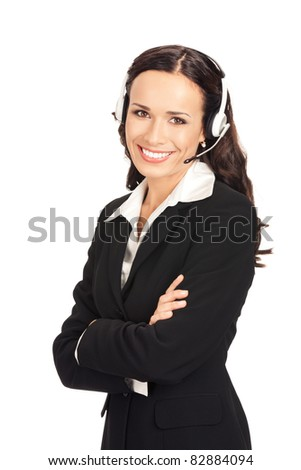 Portrait of happy smiling cheerful customer support phone operator in headset, isolated on white background - stock photo