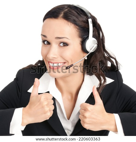 Portrait of happy smiling cheerful customer support phone operator in headset showing thumbs up gesture, isolated over white background - stock photo