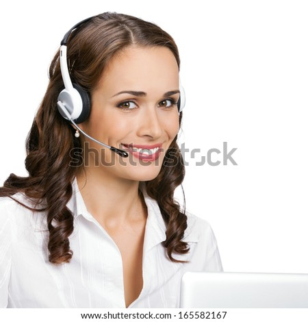 Portrait of happy smiling cheerful young support phone operator in headset with laptop, isolated on white background - stock photo