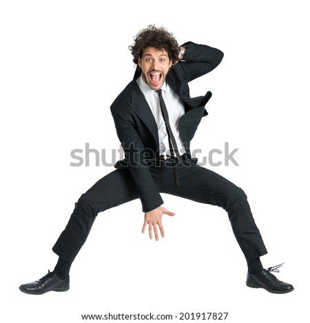 Portrait Of Happy Smiling Man In Suit Jumping Isolated On White Background - stock photo