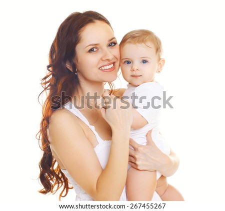 Portrait of happy smiling mother and baby together on a white background - stock photo