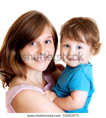 portrait of happy smiling mother with son - stock photo