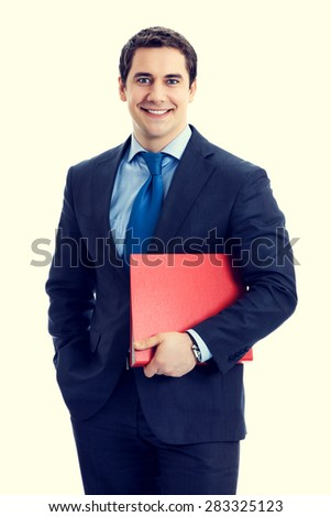 Portrait of happy smiling senior businessman with red folder - stock photo