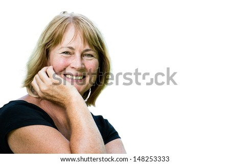 Portrait of happy smiling senior woman - isolated on white - stock photo