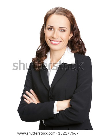 Portrait of happy smiling young business woman in black suit, isolated over white background - stock photo