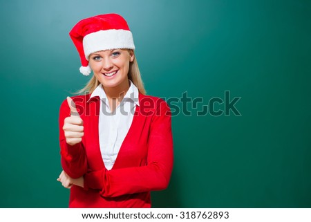 Portrait of happy student girl dressed for christmas celebration - stock photo