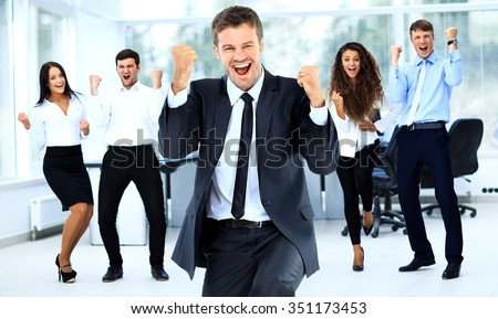 Portrait Of Happy Successful Business Group at office - stock photo