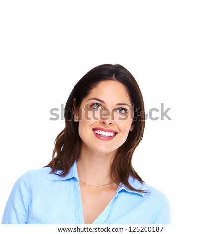 Portrait of happy thinking business woman isolated on white background - stock photo