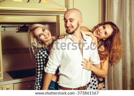 Portrait of happy tree friends at home party. Celebrate, disco, party, nightlife, entertainment, friendship concept. - stock photo