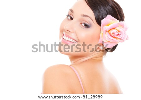 portrait of happy woman over white background - stock photo