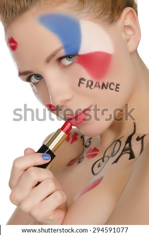 Portrait of happy woman to French theme isolated on white - stock photo