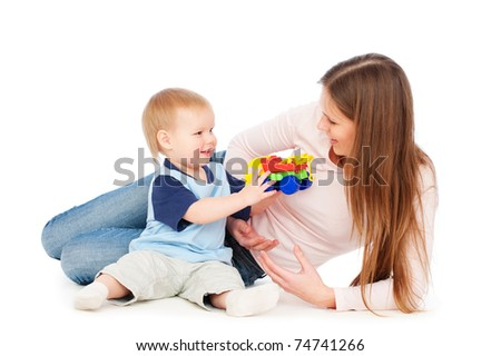 portrait of happy woman with baby. isolated on white - stock photo