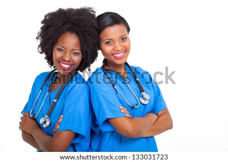 portrait of happy young african american nurses - stock photo