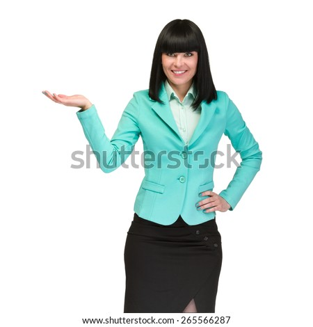 Portrait of happy young business woman with holding gesture isolated on white background - stock photo
