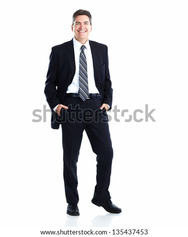Portrait of happy young businessman isolated on white background - stock photo