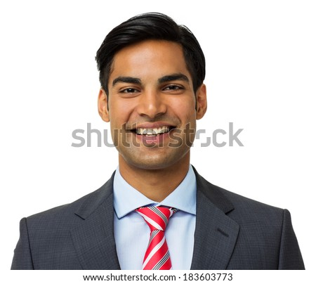 Portrait of happy young businessman isolated on white background. Horizontal shot. - stock photo