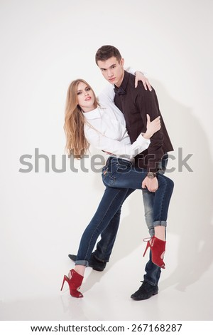 Portrait of happy young couple. - stock photo