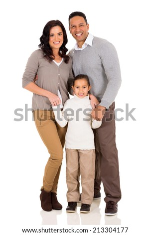 portrait of happy young family standing together isolated on white - stock photo